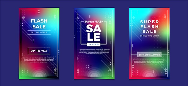 Banner de venda de mídia social, modelo de oferta com fundo desfocado colorido