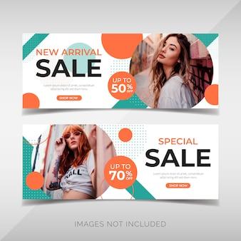 Banner de venda de moda moderna com formas geométricas