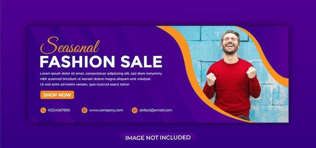 Banner de venda de moda moderna para web e mídia social capa do facebook