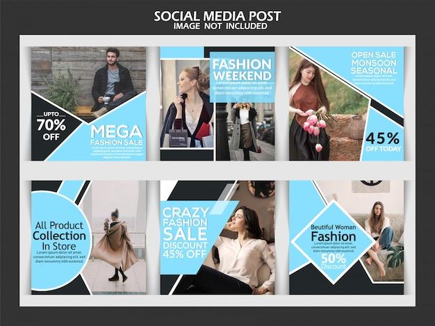 Banner de venda de moda ou conjunto quadrado de instagram
