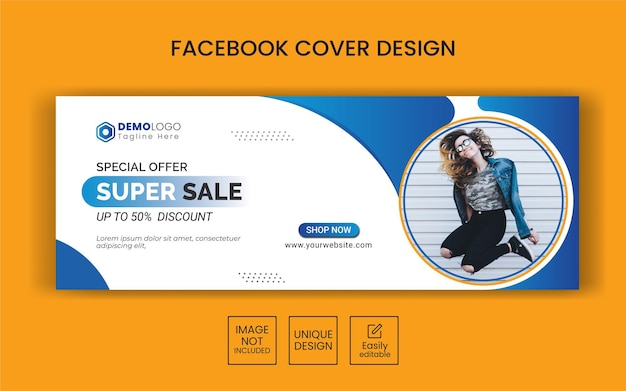 Banner de venda de moda para mídia social, capa do facebook e publicidade na web