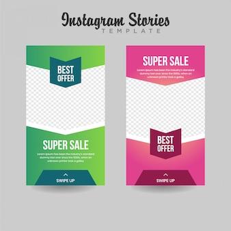 Banner de venda de modelo de histórias do instagram
