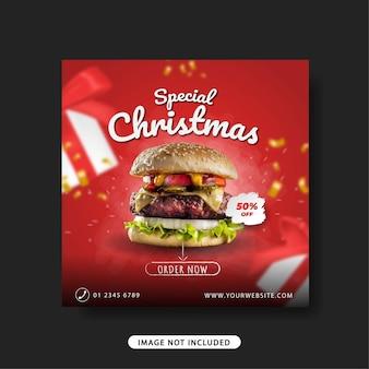 Banner de venda de modelo de postagem de promoção de feliz natal