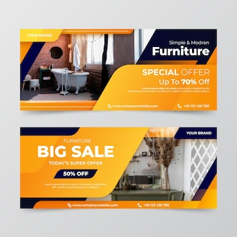 Banner de venda de móveis gradientes