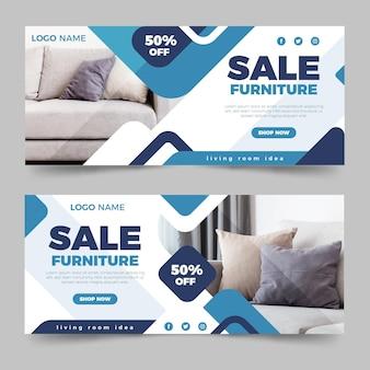 Banner de venda de móveis planos com foto