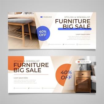 Banner de venda de móveis planos orgânicos