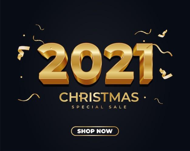 Banner de venda de natal 2021 com número ouro 3d e fita dourada em fundo escuro