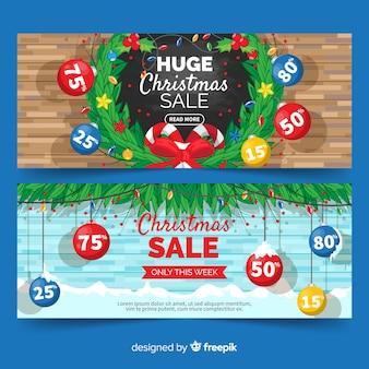 Banner de venda de natal colorido