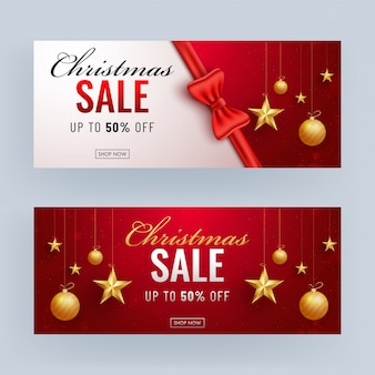 Banner de venda de natal com 50% de desconto oferta e estrelas douradas