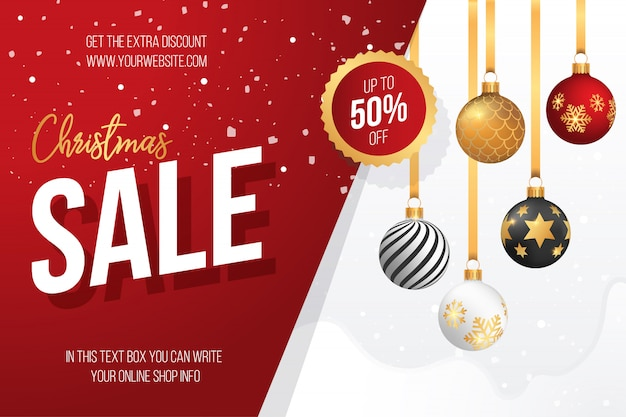 Banner de venda de natal com bolas de natal decorativas