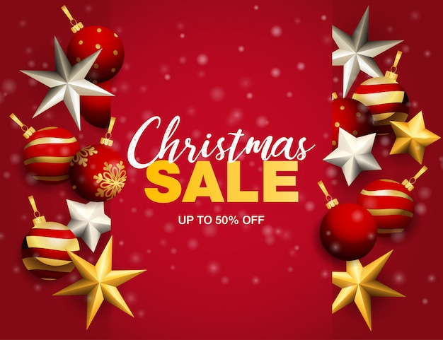 Banner de venda de natal com bolas e estrelas no chão vermelho