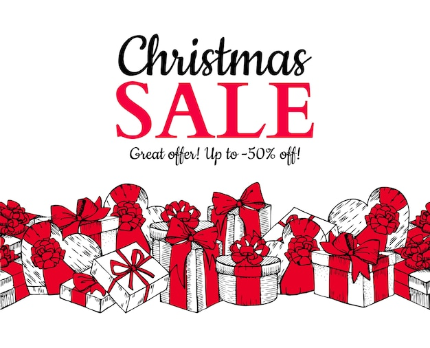 Banner de venda de natal. com caixas de presente