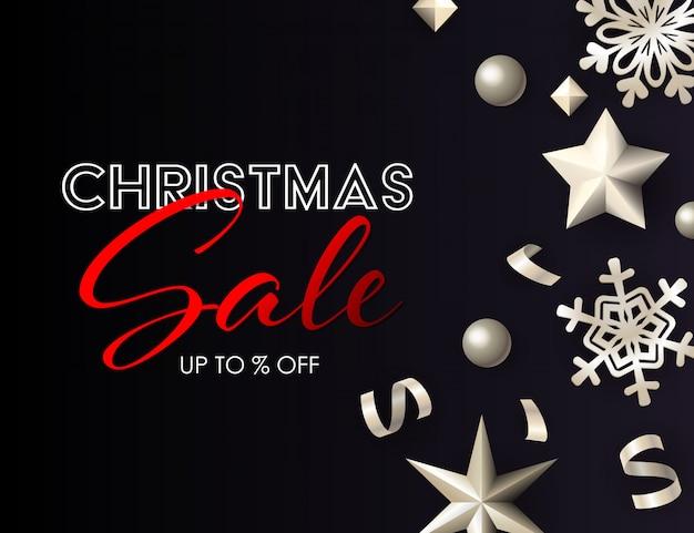 Banner de venda de natal com decoração estrela de prata cintilante