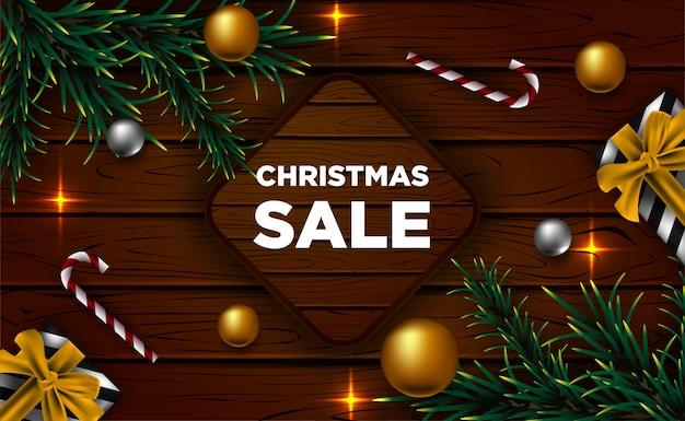 Banner de venda de natal com elementos decorativos realistas