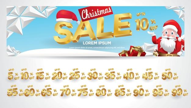 Banner de venda de natal com etiqueta de desconto 10,20,30,40,50,60,70,80,90,99 por cento