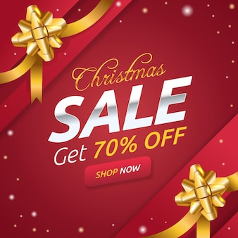 Banner de venda de natal com fitas douradas
