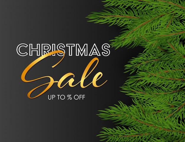 Banner de venda de natal com galhos de pinheiro verde