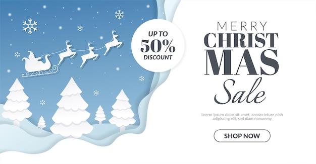 Banner de venda de natal com ilustração de papai noel e renas
