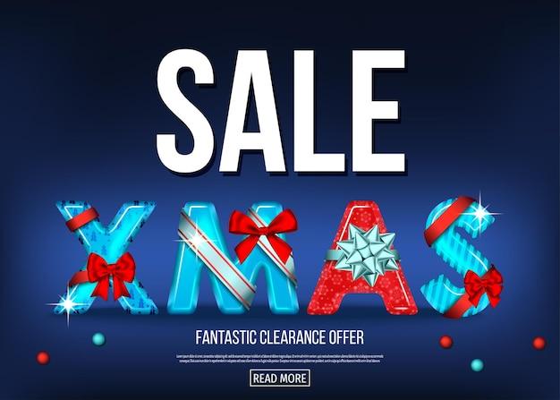 Banner de venda de natal com letras decorativas vermelhas e azuis com laço de presente, fita em fundo escuro. texto de natal. decoração do feriado de inverno. modelo de cartão de saudação de vetor.