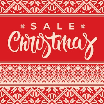 Banner de venda de natal com letras e estilo de suéter feio