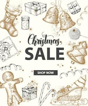 Banner de venda de natal com letras feitas à mão e objetos festivos de ouro e pretos