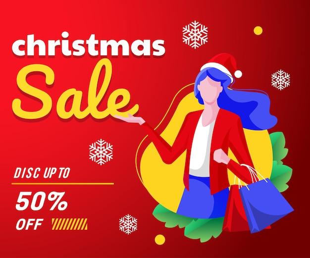 Banner de venda de natal com mulheres comprando fundo
