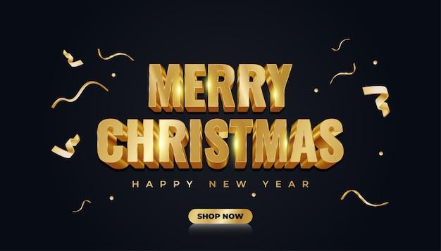 Banner de venda de natal com texto dourado 3d e fita dourada em fundo escuro