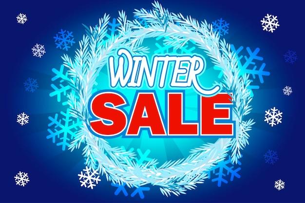 Banner de venda de natal com texto em abeto de coroa de flores azul venda de inverno venda de ano novo