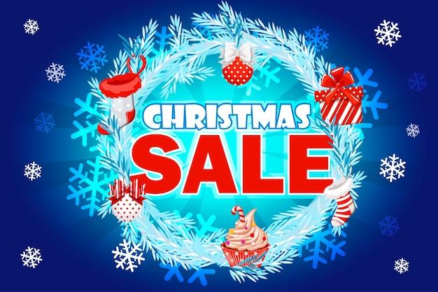 Banner de venda de natal com texto na coroa de abeto azul venda de inverno venda de natal venda de ano novo