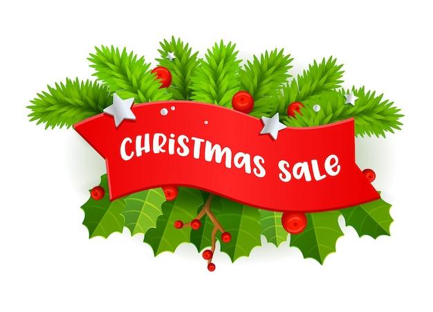 Banner de venda de natal com tipografia em fita vermelha, ramos de árvore do abeto e bagas de azevinho em fundo branco.