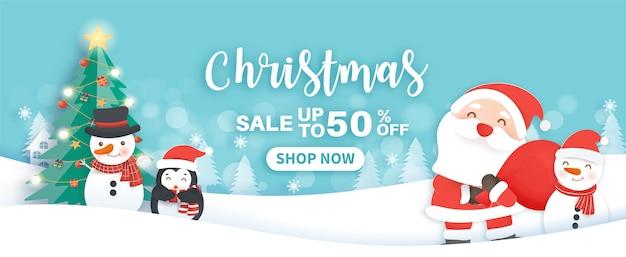 Banner de venda de natal com uma linda clasue de papai noel e amigos no estilo de corte de papel.
