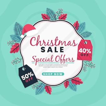 Banner de venda de natal de design plano com folhas