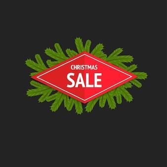 Banner de venda de natal de estilo simples no fundo.