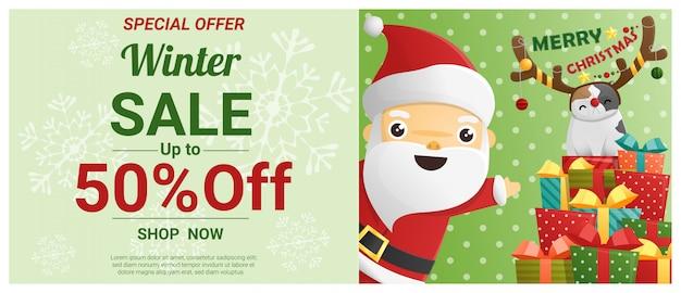 Banner de venda de natal de inverno com papai noel