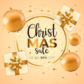 Banner de venda de natal dourado