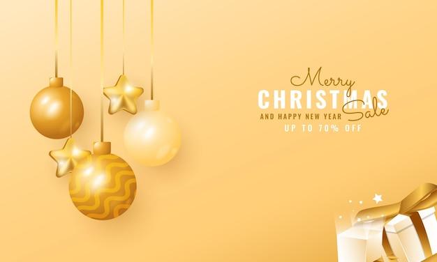 Banner de venda de natal e ano novo moderno 3d com balão e estrela pendurados