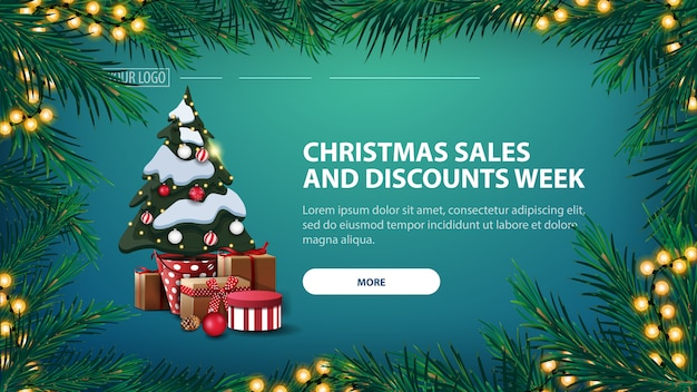 Banner de venda de natal e descontos semana, banner verde com árvore de natal em uma panela com presentes