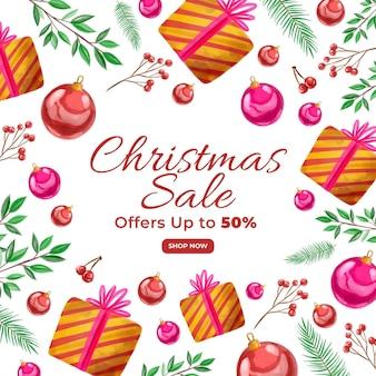 Banner de venda de natal em aquarela com presentes