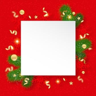Banner de venda de natal. fundo com brilhantes flocos de neve, brunches e estrelas