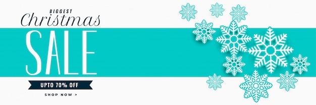 Banner de venda de natal incrível com decoração de flocos de neve