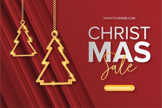 Banner de venda de natal moderno com árvore de natal dourada