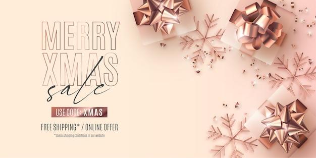 Banner de venda de natal realista com presentes de rosa dourada