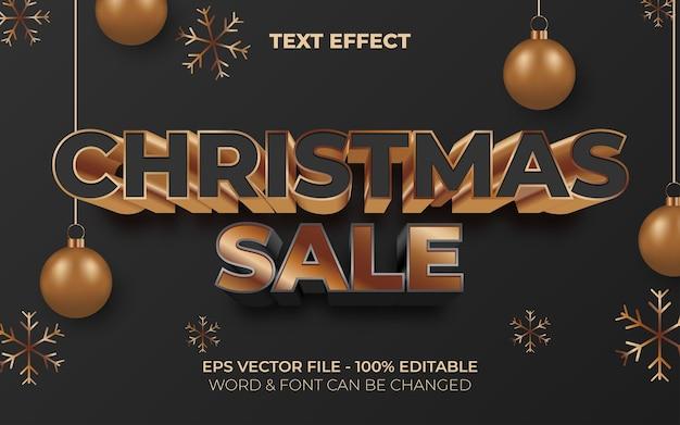 Banner de venda de natal tema de natal de efeito de texto editável