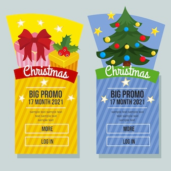 Banner de venda de natal vertical caixa de presente de presente de natal