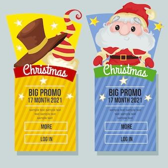 Banner de venda de natal vertical chapéu de natal e papai noel
