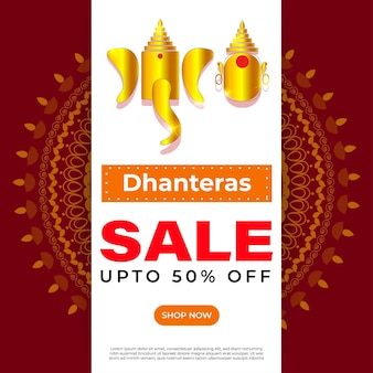 Banner de venda de oferta de festival indiano vector dhantera