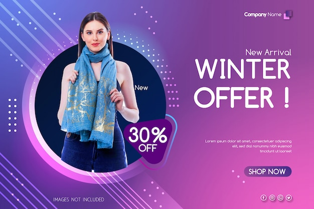 Banner de venda de oferta de inverno
