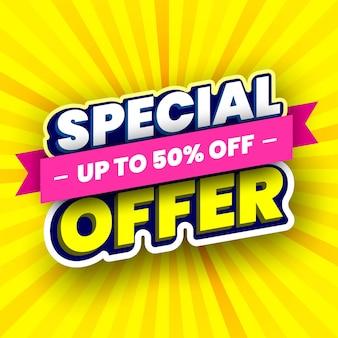Banner de venda de oferta especial em listras amarelas