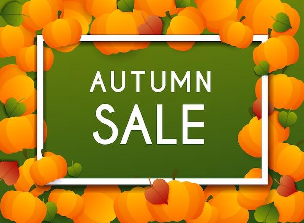Banner de venda de outono com abóboras e folhas