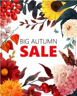 Banner de venda de outono com elementos florais de outono